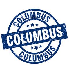 Columbus blue round grunge stamp vector