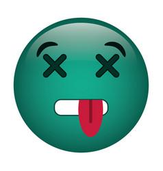 Dead emoticon funny icon vector