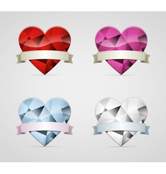 Diamond heart with ribbon set vector image