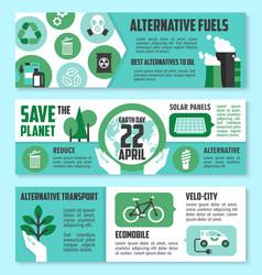 Earth day ecological banner set design vector