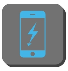 Electric mobile phone rounded square button vector