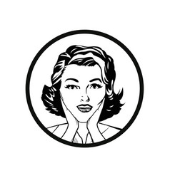 face woman pop art style comic outline vector image vector image