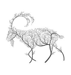 farm animals stylized bushes domestic a goat vector image