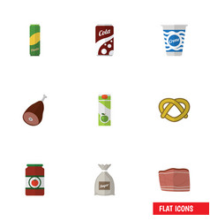 Flat icon meal set of packet beverage yogurt vector