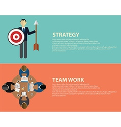 Flat style business strategy and team work concept vector