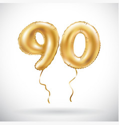 Golden number 90 ninety metallic balloon party vector