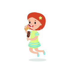 happy redhead girl licking ice cream cartoon vector image vector image