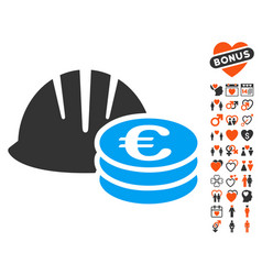 Helmet and euro coins icon with dating bonus vector