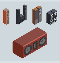 Home isometric sound system stereo acoustic 3d vector