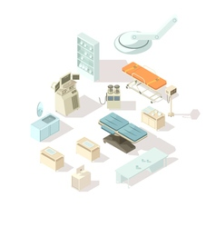 Hospital equipment isometric set vector