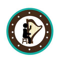Human figure playing harp instrument isolated icon vector