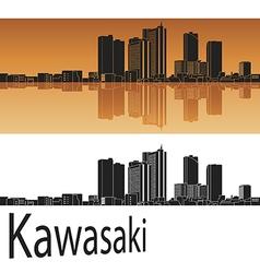 Kawasaki skyline in orange vector image vector image