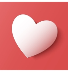 Paper heart Valentines day card on pink background vector image