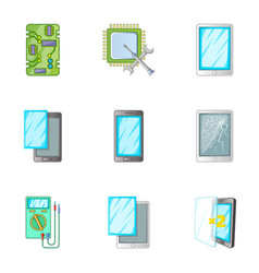 Phone repair online service icons set vector