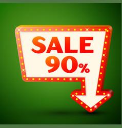 Retro billboard with sale 90 percent discounts vector