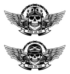 Ride or die set of the skulls in racer helmets vector