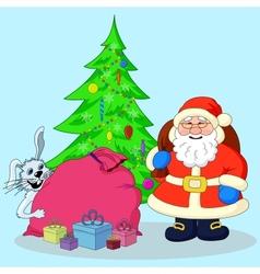 Santa Claus Christmas tree and gifts vector image