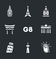 set of g8 countries symbols icons vector image