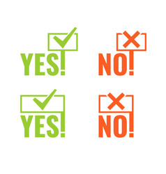 Set with banners of voting yes and no in hands vector