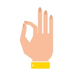Silhouette hand showing symbol Ok vector image