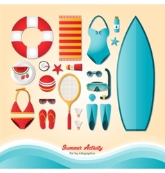 Summer activity flat lay infographics vector image vector image