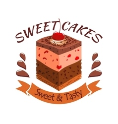 Sweet cake with berries bakery shop emblem vector