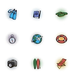 Tourism icons set pop-art style vector image vector image