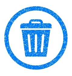 Trash Can Rounded Icon Rubber Stamp vector image