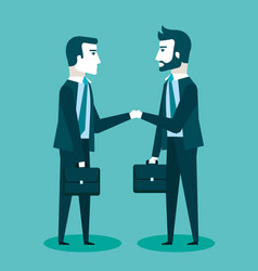 Two businessmen in suits are handshaking vector
