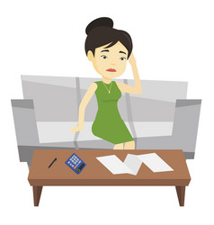 Unhappy asian woman accounting home bills vector