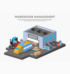 Warehouse management isometric business banner vector