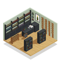 Wine shop isometric composition vector