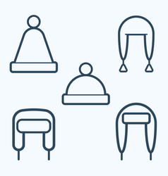winter hat icon set symbol vector image