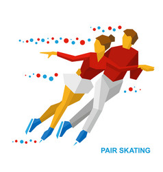 winter sports - pair figure skating couple on ice vector image