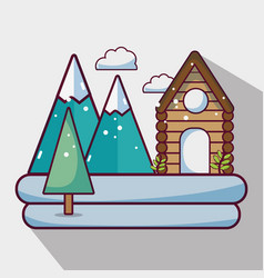 Winter weather season with cabin and mountains vector