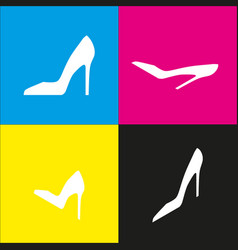 Woman shoe sign white icon with isometric vector