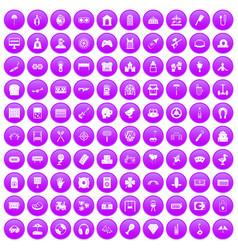 100 entertainment icons set purple vector