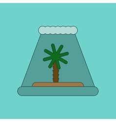 Flat icon on background tsunami island vector