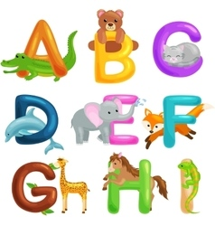 Cute cartoon animals alphabet for children vector