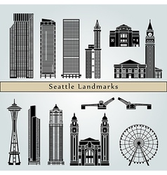 Seattle landmarks and monuments vector
