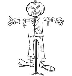 Scarecrow cartoon for coloring book vector