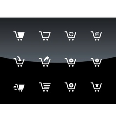 Shopping cart icons on black background vector