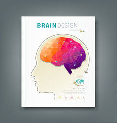 Cover magazine skull and brain for business design vector