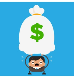 Business man holding big heavy bag of money vector