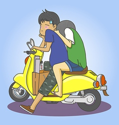 Motorcycle couple vector
