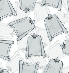 Seamless pattern of transparent grey sweatshirts vector