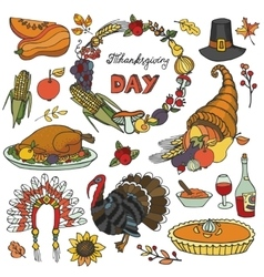 Thanksgiving day doodle iconswreathcolorful set vector