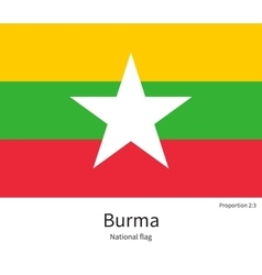 National flag of burma with correct proportions vector
