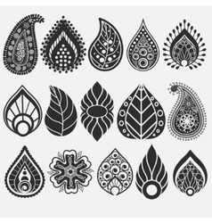 Oriental leaf floral elements set vector