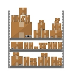 Metallic shelves with cartoon brown boxes part of vector